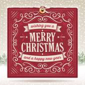 Big red christmas card with ornaments and text on a beige snowy background Scratches can be removed Screen blending mode used on a couple of objects Everything is well sorted in groups and layers File format is EPS10