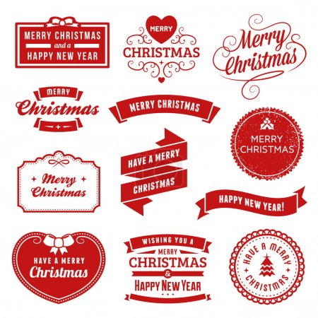 Collection of Red Christmas Labels, Ribbons and Ornaments