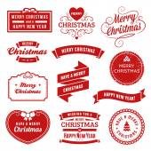 Collection of red christmas vector labels and ornaments Only solid fills used