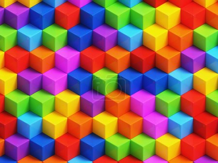 Photo for Abstact colorful cubes - 3D geometric background - Royalty Free Image