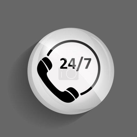 Customer service 24.7 Glossy Icon Vector Illustration