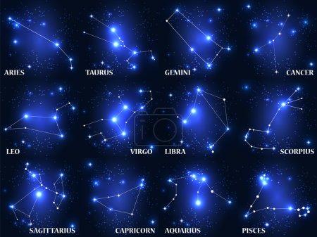 Illustration for Set of Symbols of Zodiac on blue background - Royalty Free Image