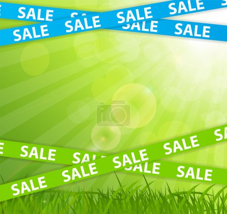 Spring Sale Concept with Nature and Ribbons. Vector Illustration