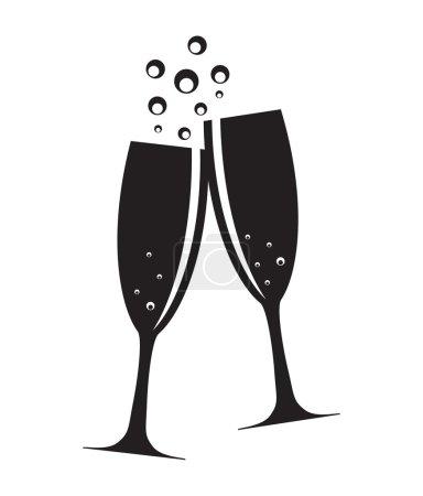 Illustration pour Deux verres de Champagne Silhouette Illustration vectorielle EPS10 - image libre de droit