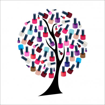 Tree with Realistic Nail Polish Vector Illustration