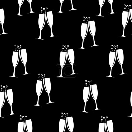 Two Glasses of Champagne Silhouette Seamless Pattern Background