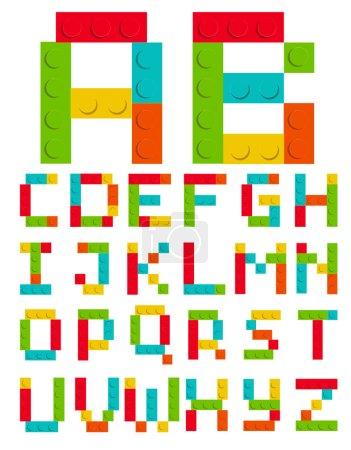 Illustration pour Ensemble Alphabet en brique Construction de jouets Vecteur blanc isolé Illustration EPS10 - image libre de droit