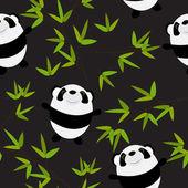 Cute Little Panda with Bamboo Leaves Seamless Pattern