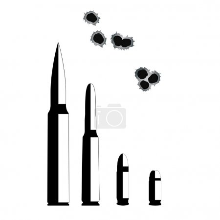 Bullet. Weapons Isolated on White Background. Vector Illustratio