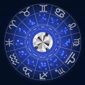 Set of Zodiac Signs Symbols with Diamond Vector Illustration