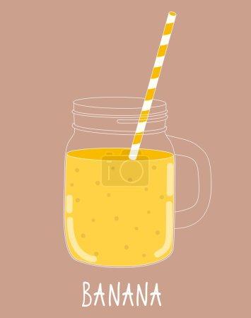 Illustration pour Smoothie aux bananes fraîches. Nourriture saine. Illustration vectorielle EPS10 - image libre de droit