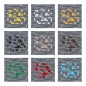 Texture for platformers pixel art vector: stone ore mineral blocks: silver gold coal gem iron