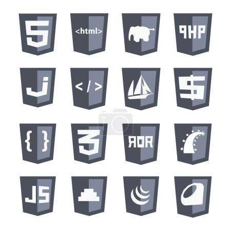 Vector web shields icon set grey variant
