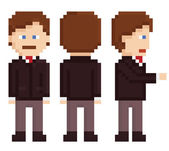 pixel art businessman sprite staying back and hand shake