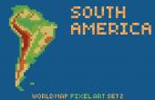 pixel art style map of south america contains relief continent and islands