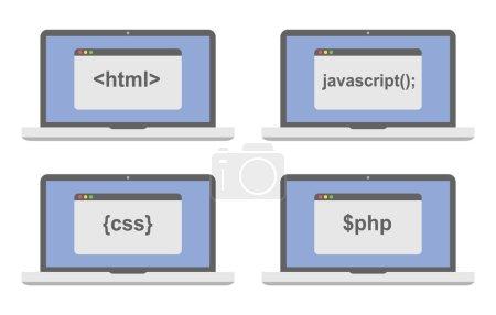 web development icon set - laptop screen shows internet html tags css styles, scripts