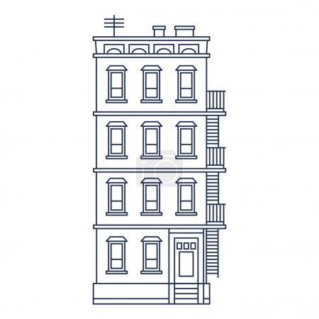vector illustration - line drawn old building with balcony and stairs isolated vintage