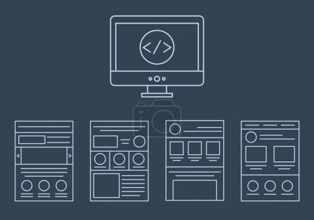 vector collection of web development icons - html, css, tags and page layout