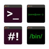 Terminal startup icon set direct access to system via command line - illustration