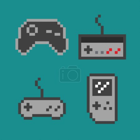 Vector pixel art illustration - simple gamepads set isolated