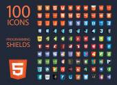vector collection of web development shield signs one hundred isolated icons html5 style programming technology