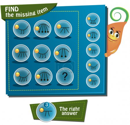 Illustration for Visual Game for children. Task: Find the missing item - Royalty Free Image