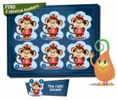 find 2 identical monkeys girl