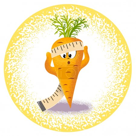 Illustration for Icon carrot with measuring tape - Royalty Free Image