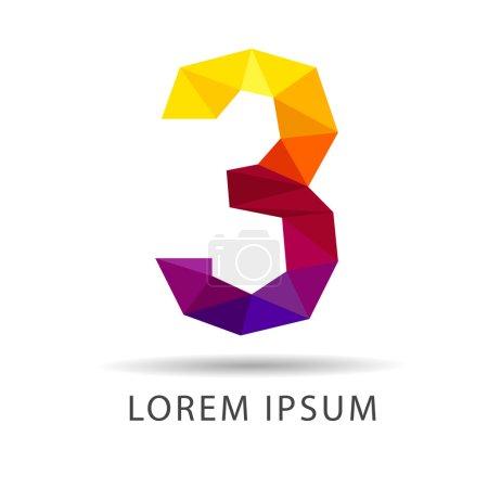 Number three as design logo geometric icons