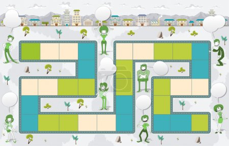 Board game with green people on the city