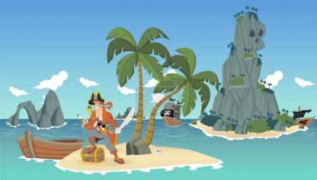 pirates on a beautiful tropical beach with gold chest