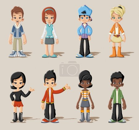 Illustration pour Groupe de jeunes de bande dessinée. Adolescents. - image libre de droit