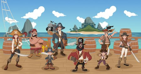 cartoon pirates on a decks of a ship