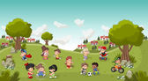 park in the city with cartoon children playing Sports and toys