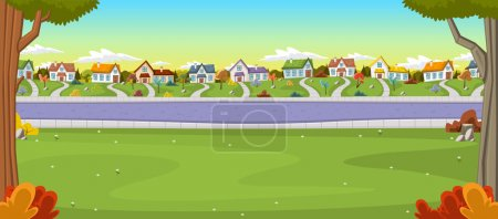 Illustration for Colorful houses in suburb neighborhood. Green park landscape with grass, trees, flowers and clouds. - Royalty Free Image