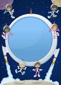 Bordo di schermo di razzo futuristico con bambini fumetto astronauta