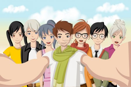 Illustration for Group of cartoon young people taking selfie photo. Picture of manga anime teenagers. - Royalty Free Image