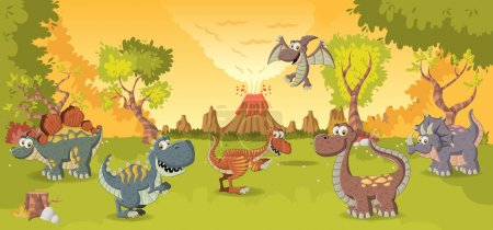 Forest with volcano and funny cartoon dinosaurs.