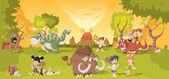 Group of cartoon cavemen on forest with volcano and funny cartoon dinosaurs Stone age children