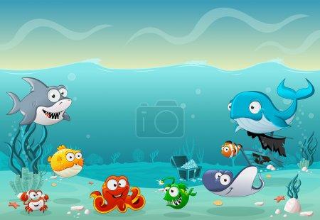 Cartoon fish under the sea. Underwater world with ...