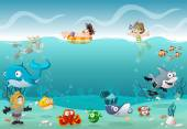 Kids wearing Scuba diving suit and swimming with fish under the sea Cartoon divers in underwater world with corals