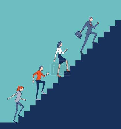people climbing high stair.