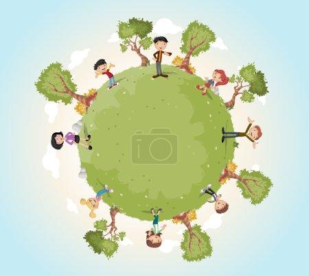 Illustration pour Planète Terre avec famille de dessin animé. Fond naturel. Monde vert . - image libre de droit