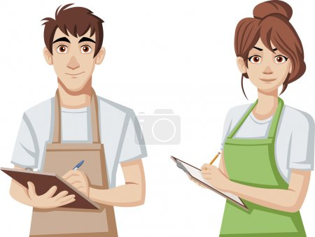 Cartoon young people wearing apron