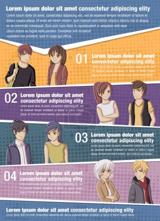 Vector brochure backgrounds with manga anime people.