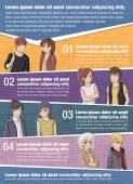 Vector brochure backgrounds with manga anime people