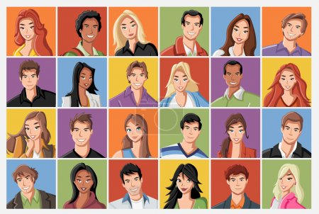 Cartoon young people.