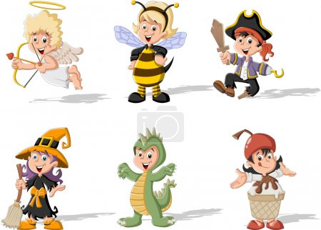 Cartoon kids wearing costumes