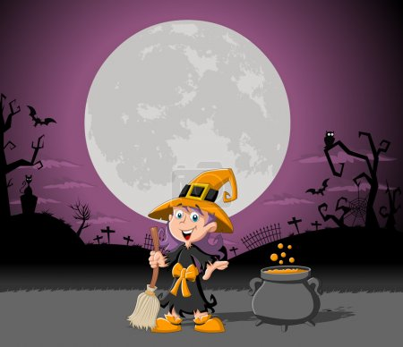 Cartoon witch girl on halloween cemetery backgroun...