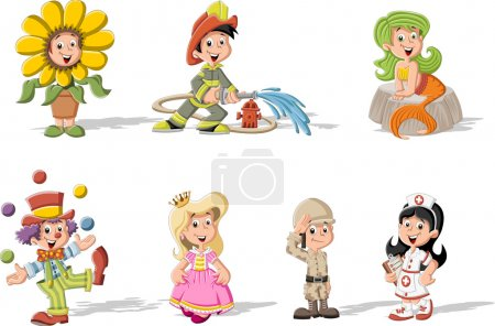 Cartoon kids wearing different costumes